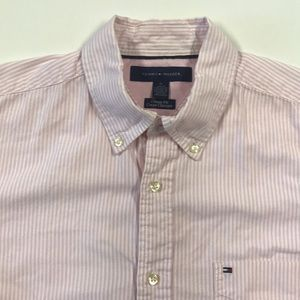 TOMMY HILFIGER Mens Pink Oxford Dress Shirt Medium